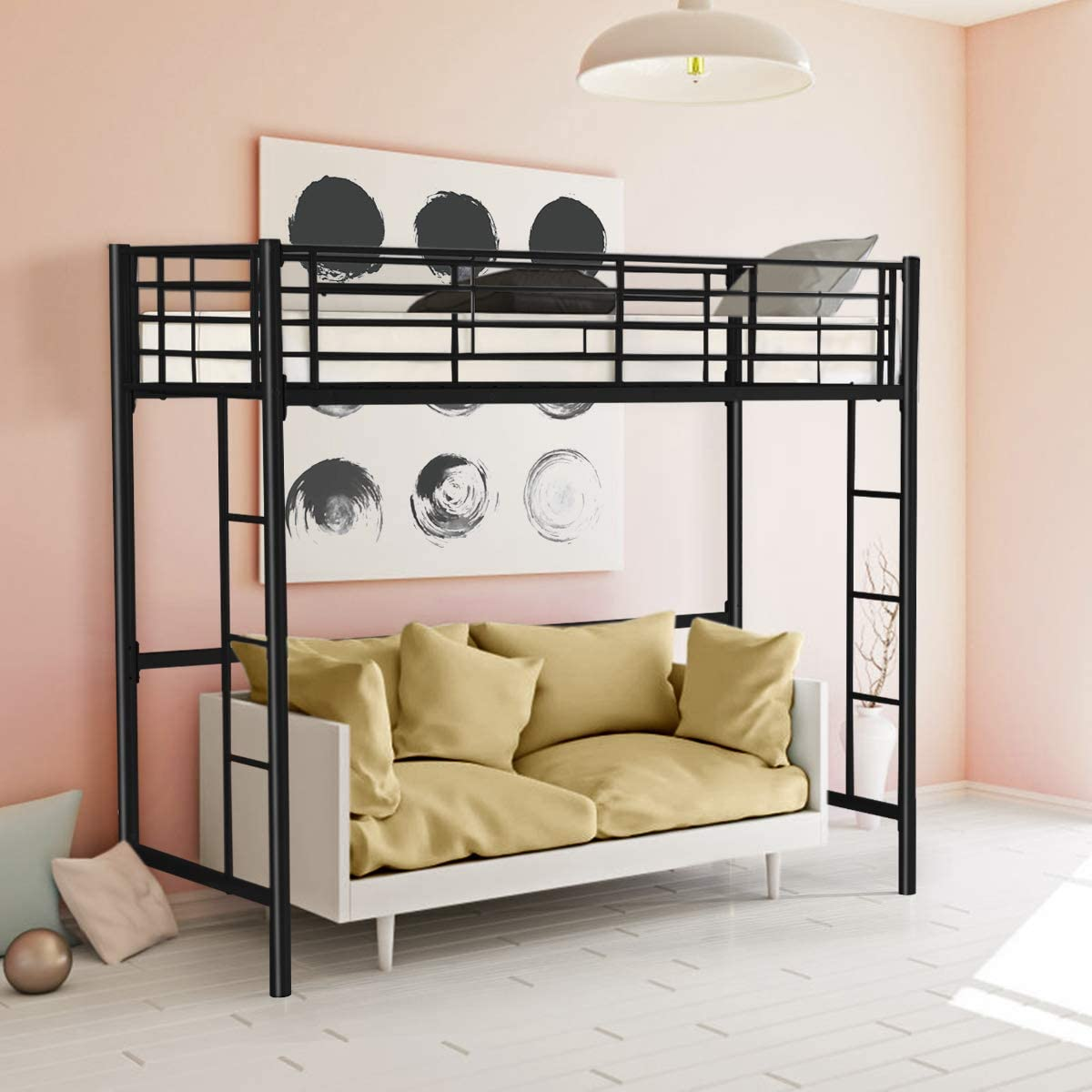 Casart 3ft High Bed With Twin Ladders And Safety Guardrail High Sleeper Household Space Saver Metal Bunk Bed Loft Frame For Boys Girls Teens Kids Bedroom Dorm Black Amazon Co Uk Kitchen