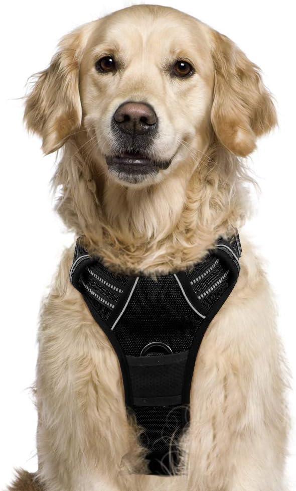 Arnes Antitirones Perro Arnes Pecho Grande Perros Chaleco Acolchado para Mascotas Color Negro Tamano Grande L Antifugas Mejor Control y Seguridad