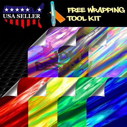 Free Tool Kit Purple Holographic Rainbow Neo Chrome Car Vinyl Wrap Sticker Decal Film Sheet - 12'X60' (1FT X 5FT)