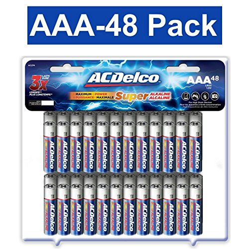 ACDelco AAA Batteries, Triple A Battery Super Alkaline, High Performance, 48 Count