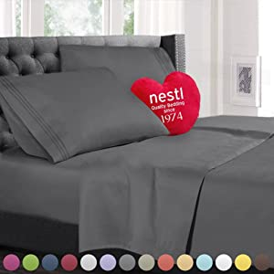 Split King Size Bed Sheets Set, Grey Charcoal (Gray), Best Quality Bedding Sheet Set on Amazon, 5-Piece Bed Set, Extra Deep Pockets Fitted Sheets, 100% Luxury Soft Microfiber, Cool & Breathable