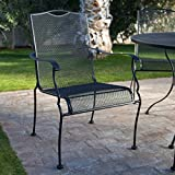 Belham Living Stanton Wrought Iron Dining Chair by Woodard - Set of 4 - Textured Black