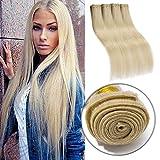 #60 Platinum Blonde Human Hair 3 Bundles 300g Straight Unprocessed Brazilian Virgin Human Hair Sew in Extensions for Women Wavy Curly Hair Weave 20'
