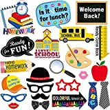 24 Sets Back To School Photo Booth Props Kit - First Day of School Camera Props Kit Party Supplies for Kids and Adults