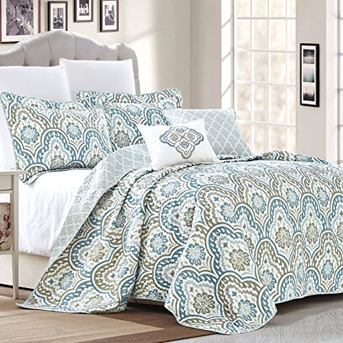 Serenta Tivoli Ikat Design 5 Piece Teal Aqua Printed Prewashed Quilted Coverlet Bedspread Bed cover Summer Quilt Blanket with Cotton Polyester Filled Embroidery Pillow Set, King