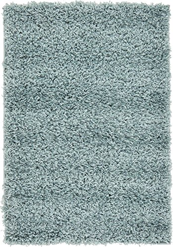 Unique Loom Solo Solid Shag Collection Modern Plush Light Slate Blue Area Rug (2' x 3')