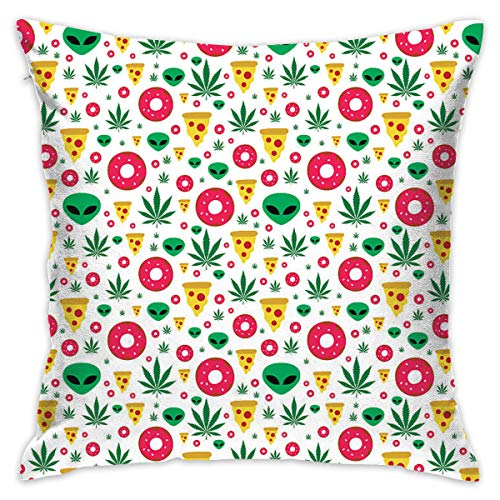 PengMin Alien Weed Donut Sofa and Bed Decoration Cotton Pillowcase Cover 18 Inches X18 Inch Sets of Series