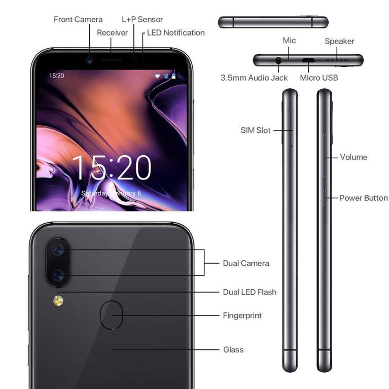 Anschlüsse und Sensoren - Umidigi A3 Low Budget Smartphone