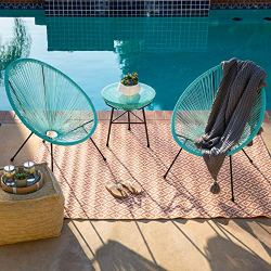 Best Choice Products 3-Piece All-Weather Patio Acapulco Bistro Furniture Set w/Rope, Glass Top Table – Light Blue