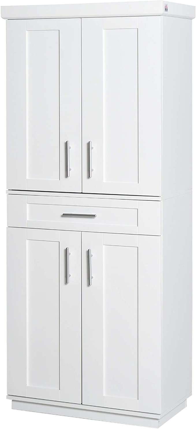 Amazon Com Homcom Modern Kitchen Pantry Freestanding Cabinet Cupboard With Doors And Shelves Adjustable Shelving White Furniture Decor