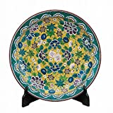 Jpanese traditional ceramic Kutani ware. Decorative Plate with a stand. Yoshidaya flowers. With wooden box. ktn-K5-1395