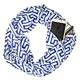 Women's Greek Key Pattern Infinity Scarf with Zipper Pocket - Blue - Pop Fashion