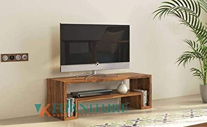 Vk Furniture Sheesham Wood Tv Unit Wooden Tv Stand For Living Bedroom Shelf Storage Teak Finish Amazon In Home Kitchen
