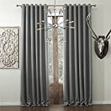 IYUEGO Solid Faux Linen Classic Room Darkening Grommet Top Curtain Draperies with Multi Size Custom 50' W x 102' L (One Panel)