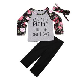 AnneBella Toddler Kids Baby Girls Outfits Floral Letters Tops T-Shirt Pant Bow Hairband Clothes (2-3 Years)
