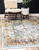 Unique Loom Baracoa Collection Bright Tones Vintage Traditional Light Blue Area Rug (10' 0 x 13' 0)
