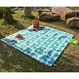 WolfWise 79'x79' XXL Picnic Blanket Extra Large Fleece Beach Mat with Waterproof Backing Anti Sand, Green Small Monstera