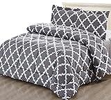 Utopia Bedding Printed Comforter Set 2 Pillow Shams - Luxurious Soft Brushed Microfiber - Goose Down Alternative Comforter (Queen, Grey)