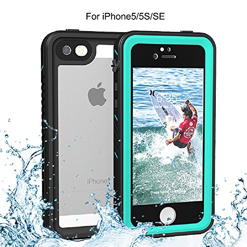 iPhone 5/5S/SE Waterproof Case, Re-sport Shockproof Dustproof Full-Sealed Protective Underwater Phone Case Cover with IP68 Certificated Compatible with iPhone 5 5S SE (Blue)