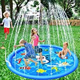 Sprinkle & Splash Water Play Mat, 60 Inch Blue Inflatable Sprinkler Pad, Summer Outdoor Garden Lawn Spray Toys for Kids/Children/Boys/Girls/Dog and Pets, 2019 Durable PVC Eco-Friendly Material.