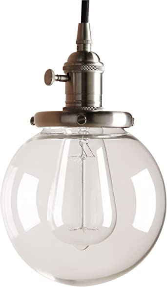 Pathson 15cm Vintage Modern Pendant Light Fittings Industrial Edison Ceiling Light Hanging Light Fixture Loft Bar Kitchen Island Chandelier E27 With Clear Glass Globe Light Shade Brushed Amazon Co Uk Lighting