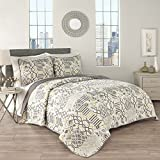 Traditions by Waverly 15219BEDDF/QPOR Maldives 90-Inch by 90-Inch 3-Piece Full/Queen Quilt Collection, Porcelain