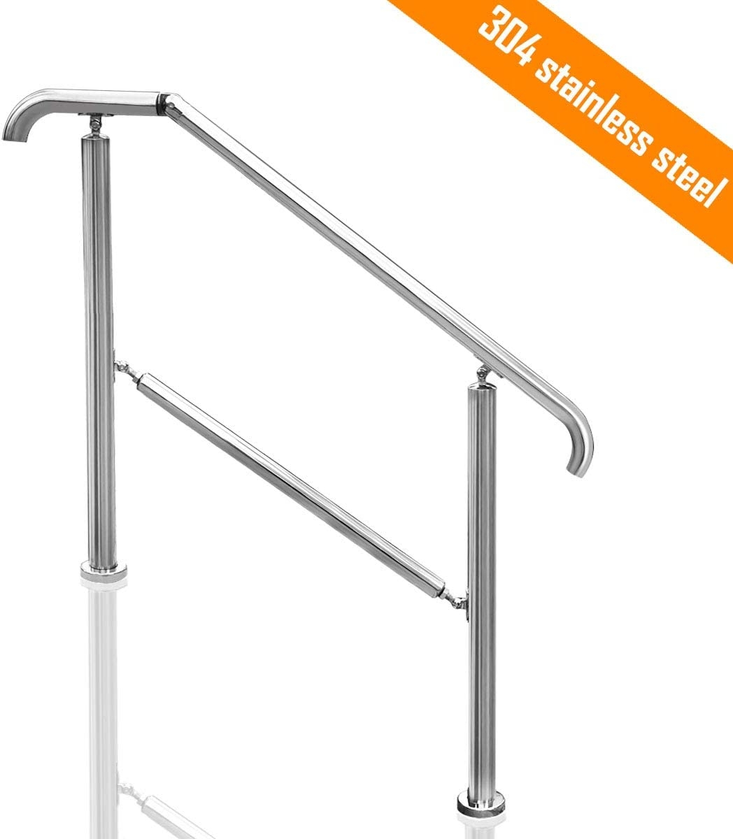 Transitional Handrail Stainless Steel Fits Level Surface And 1To 5 | Outdoor Railings For Steps | Exterior | Outside | Residential | Staircase | Interior