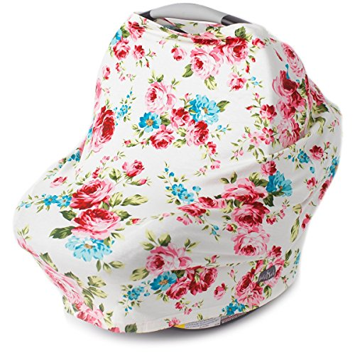 Fine Stretchy Multi Use Carseat Canopy Nursing Cover Shopping Cart High Chair Cover Scarf Vintage White Floral Best Baby Gift For Girls Fits Inzonedesignstudio Interior Chair Design Inzonedesignstudiocom
