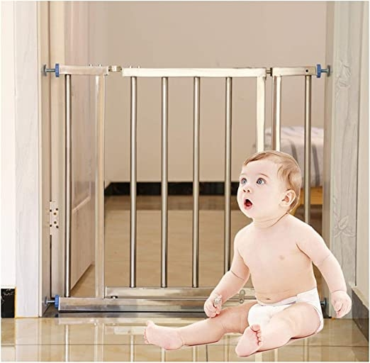 Amazon Com Zemin Baby Safety Gates Double Lock Pet Dog Stair Gate | Steel Gates And Stairs | Dreamstime | Handrail | Stainless Steel | Fence Gate | Egress