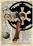 Sexy star wars storm trooper with deathstar, modern pin up girl art on old dictionary page