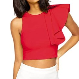 Shawhuwa Womens Sexy One-shoulder Ruffle Party Club Midriff Crop Top L Red