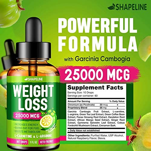 Weight Loss Drops - Appetite Suppressant for Women & Men - Made in The USA - Natural Metabolism Booster - Fast Weight Loss - Diet Drops with Garcinia Cambogia, L-Arginine & L-Glutamine 4