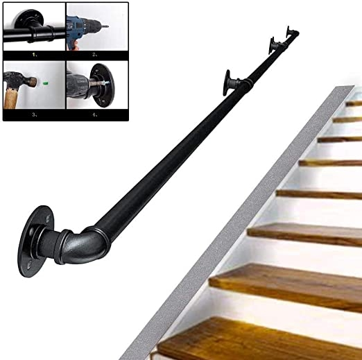 Amazon Com Haofay Staircase Handrail Complete Kit Antique | Antique Handrails For Stairs | Newel Posts | Wrought Iron Stair | Antique Wood | Antique Green | Wood