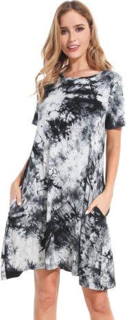 Plus Size Dresses Women Short Sleeve Floral Shift Tie Dye T Shirt Dress with Pockets