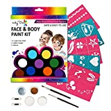 Maydear Face Paint Kit for Kids with Safe and None Toxic FDA Compliant Water Based 12 Color Palette (Large) with 2 Glitters, 36 Stencils, 2 Brushes, 2 Sponges and 2 Foam applicators