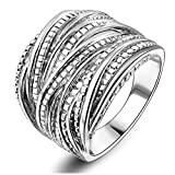 Mytys Rhodium Plating Retro Vintage Silver Interwined Design Fashion Rings (7)