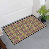 ONECUTE Dog Doormat,Mandala Asian Ethnicity Theme Cultural Traditional Motifs in Vivid Colors,Super Absorbs Mud,24'x16' Pale Blue Yellow Green Pink