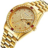 Fanmis Luxury Unisex Gold Crystal Quartz Calendar Gold Tone Stainless Steel Watch
