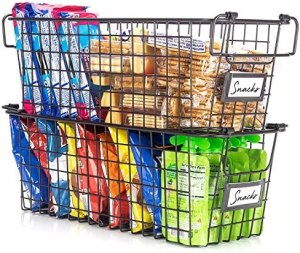 Gorgeous Stackable Wire Baskets For Pantry Storage and Organization – Set of 2 Pantry Storage Bins With Handles – Sturdy Metal Food Baskets Keep Your Pantry Organized