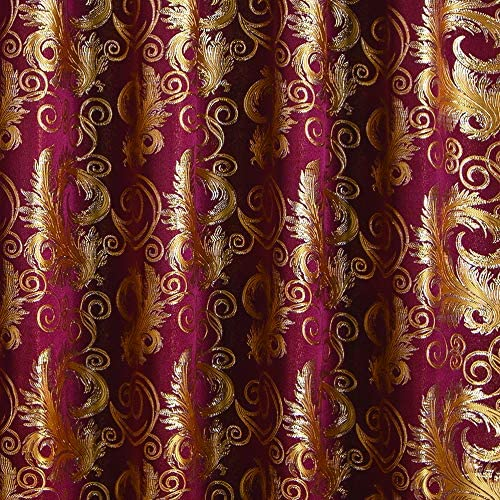 """Golden Rugs Jacquard Luxury Curtain Window Panel Set Curtain with Attached Valance and Backing Bedroom Living Room Dining 112""""X84"""" Each Jana Collection (Burgundy) 3"""
