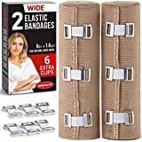 Premium Elastic Bandage Wrap - 2 Pack + 6 Extra Clips - Wide (6 inch) Compression Bandage - Stretches up to 15ft in Length - Compression Wrap