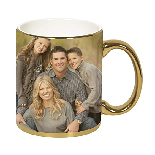 ValueAdds Personalised Photo Golden Color Ceramic Customised Coffee Mug (Golden Mug- 325 ml)