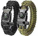 A2S Paracord Bracelet K2-Peak - Survival Gear Kit with Embedded Compass, Fire Starter, Emergency Knife & Whistle - Pack of 2 - Slim Buckle Design Hiking Gear (Black/Green 8.5')