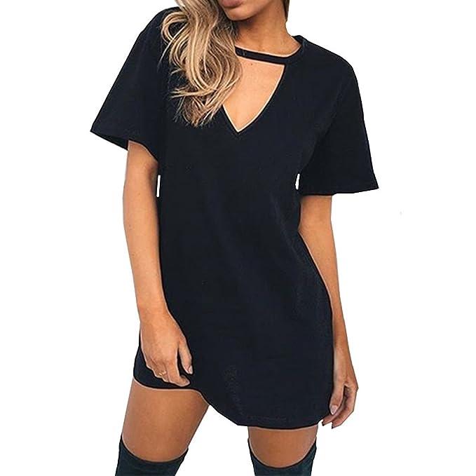camisa larga con cuello en v juvenil negra para mujerhttps://amzn.to/2Syj48n