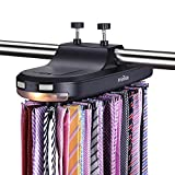 Primode Motorized Tie Rack with LED Lights – Closet Organizer, Stores & Displays Up to 64 Ties Or Belts, Rotation operates with Batteries. Great Gift Idea (Black)