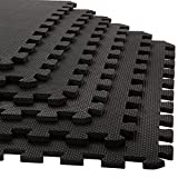 Foam Mat Floor Tiles, Interlocking EVA Foam Padding by Stalwart - Soft Flooring for Exercising, Yoga, Camping, Playroom - 6 Pack, .375 inches thick