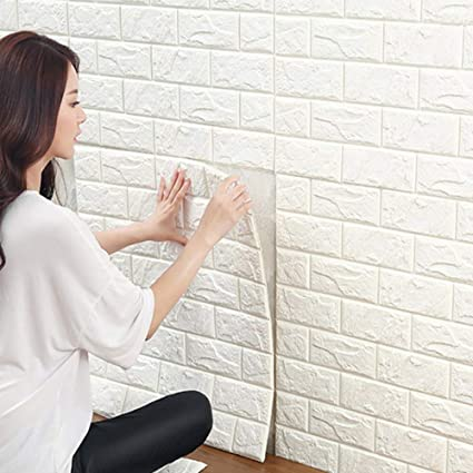 3d Carta Da Parati Mattoni Bianco Ytat 3d Muro Di Mattoni Adesivi Pannelli Carta Da Parati Per Cucina Bagno Soggiorno Salone Ufficio Tv Sfondo