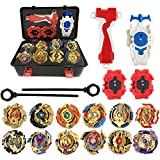 STORM GYRO Bay Burst Blade battling Box Set 12pcs/Set Golden Bey Spinning Tops Blade Burst Box Set Excalibur Zeno Burst B105,B113,B96,B97,B85,B86,B901,B902,B71,B75,B104,B106 with Launcher Grip