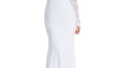 49b6144affc2 Lalagen Women s Floral Lace Long Sleeve Off Shoulder Wedding Mermaid Dress  White1 XL