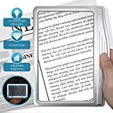 MagniPros 3X Large Ultra Bright LED Page Magnifier with 12 Anti-Glare Dimmable LEDs(Evenly Lit Viewing Area & Relieve Eye Strain)-Ideal for Reading Small Prints & Low Vision Seniors with Aging Eyes